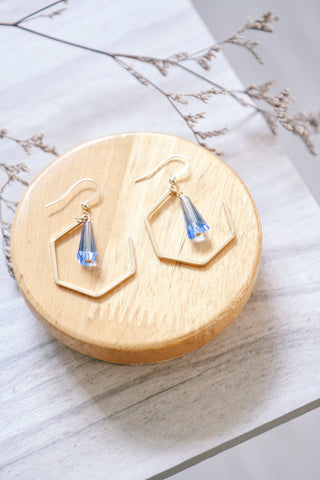 Pentagon & Gem Earrings - Blue