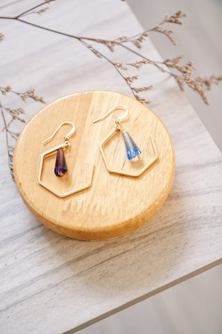 Pentagon & Gem Earrings - Purple