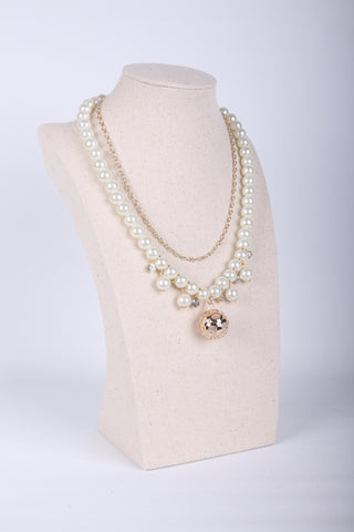 Gold Pearl Multirow Necklace