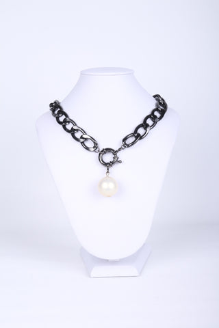 Pearl Pendant Chain-Link Necklace