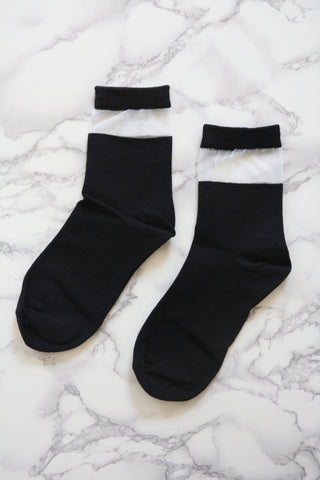 Black Sheer Panel Ankle Socks