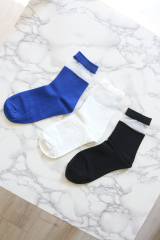 Blue Sheer Panel Ankle Socks