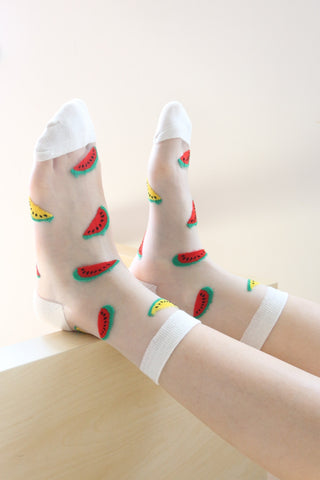 Watermelon Sheer Socks