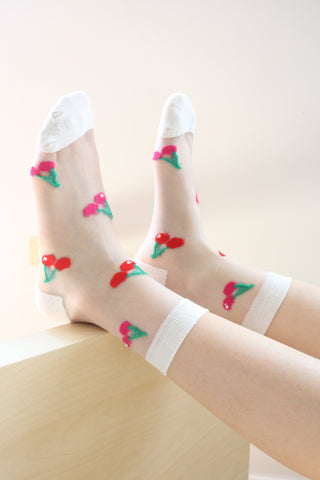 Cherry Sheer Socks