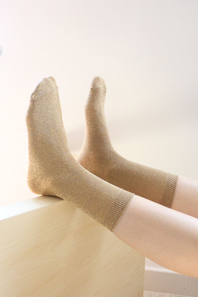 Shalex Metallic Socks - Gold