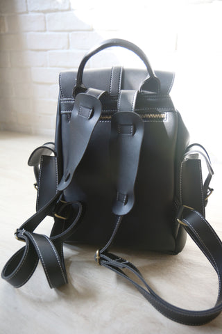 Classic Structured Pockets Backpack - Black