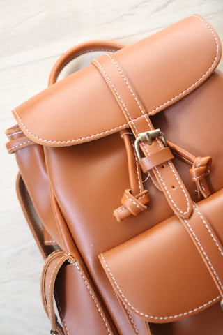 Classic Structured Pockets Backpack - Ochre Brown