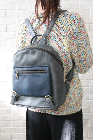 Shalex Buckle Detail Backpack - Grey