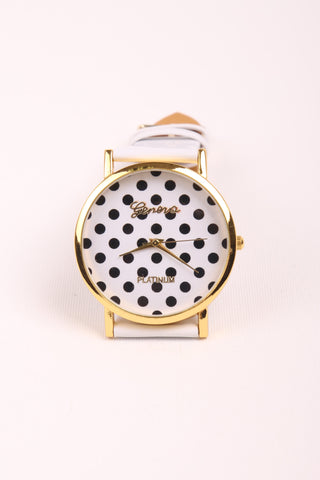 Polka Dot Watch - White