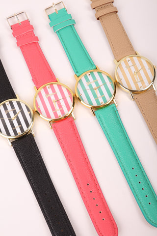 Stripes Watch - Coral