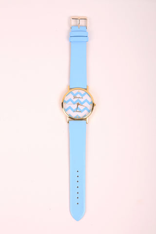 Chevron Print Watch - Blue