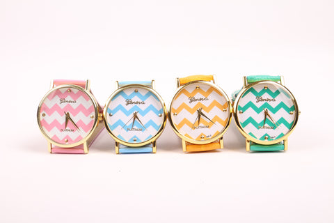 Chevron Print Watch - Mint
