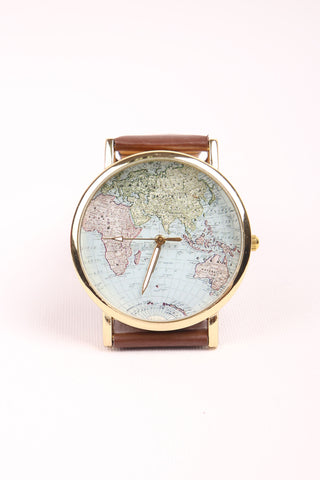 World Map Watch - Brown
