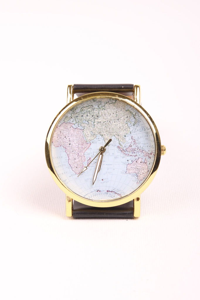 World Map Watch - Black