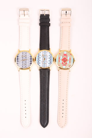 Aztec Print Watch - Beige