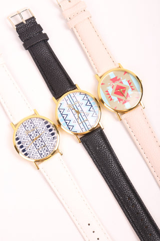 Aztec Print Watch - White