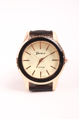 Classic Leather Strap Watch