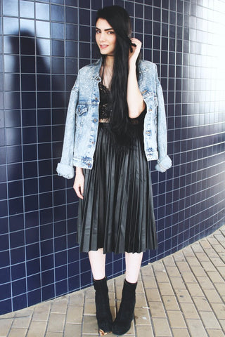 Leather-look Pleated Midi Skirt