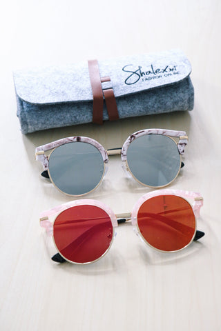Cut-Out Cat Eye Sunglasses - Pink Marble