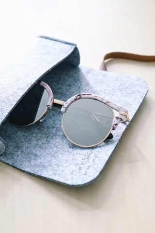 Cut-Out Cat Eye Sunglasses - Marble