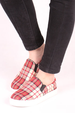 Checked Plimsolls - Red