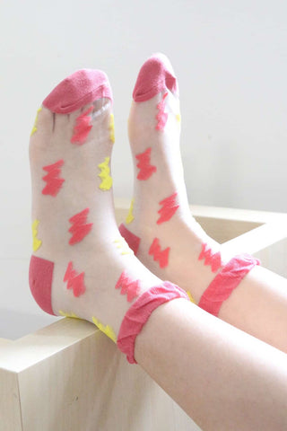 Lightning Bolt Sheer Socks - Pink