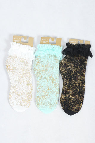 Crochet Lace Trim Socks - Mint