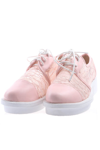 Pink Brogues with Lace Insert