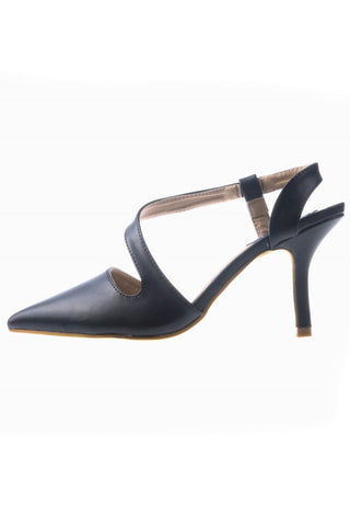 Pointed Heeled Shoes with S-Strap - Black