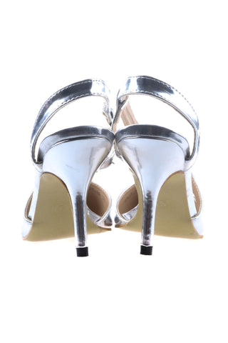 Pointed Heeled Shoes with S-Strap - Silver