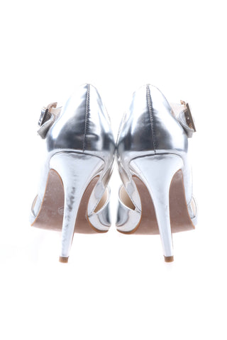Shalex Pointed Heeled Shoes - Silver