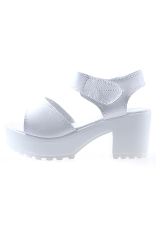 Leather Chunky Heeled Sandals - White