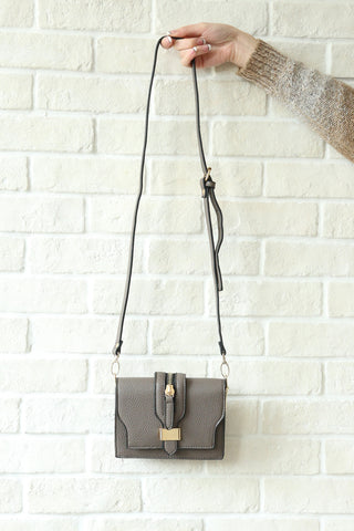 Zippered Crossbody Bag - Grey