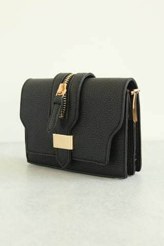 Zippered Crossbody Bag - Black