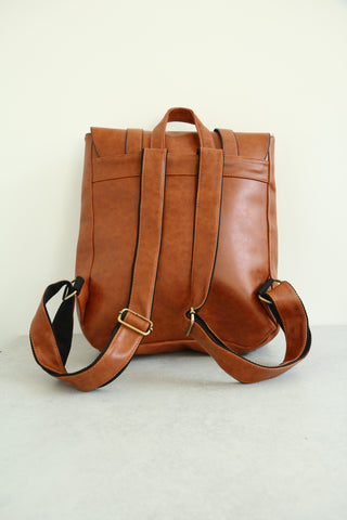 Leather-Look Studs Backpack - Brown