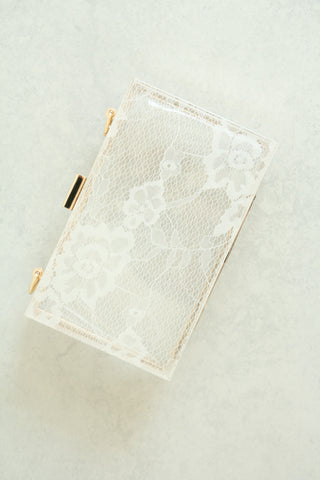Lace Clear Box Clutch - White