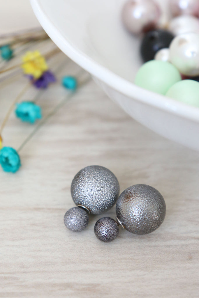 Double Candy Earrings - Textured Grey