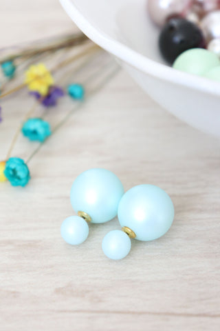 Double Candy Earrings - Frosted Blue