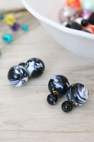Double Candy Earrings - Psychedelic Black
