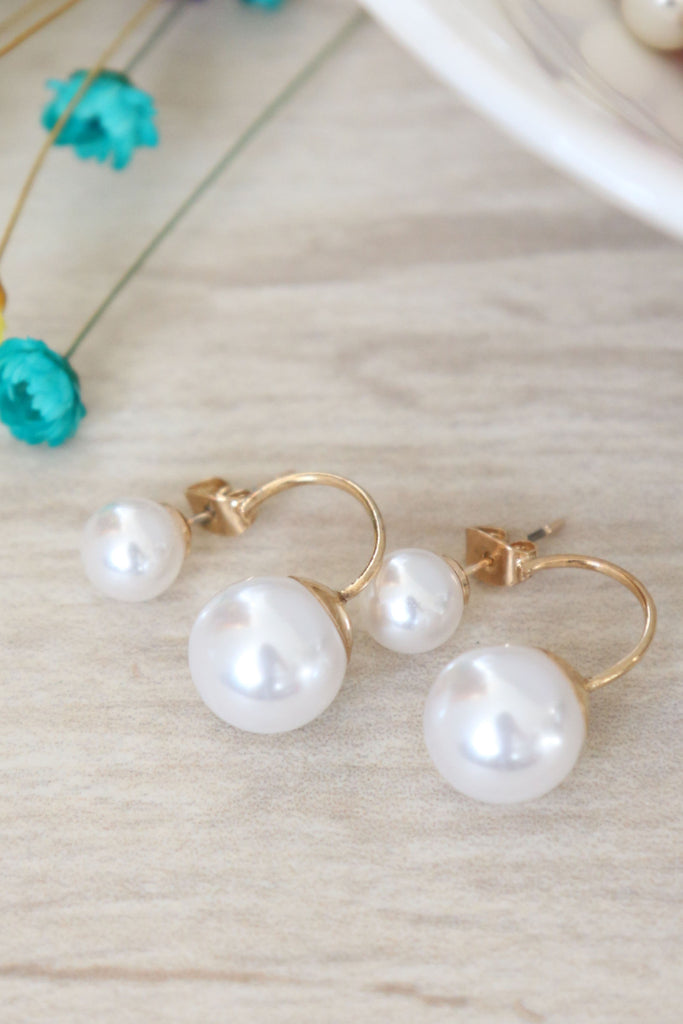 Faux Pearl Swing Earrings