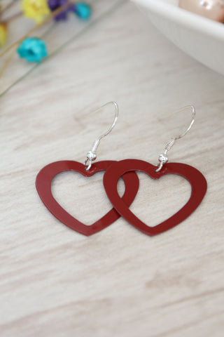 Open Heart Drop Earrings - Red