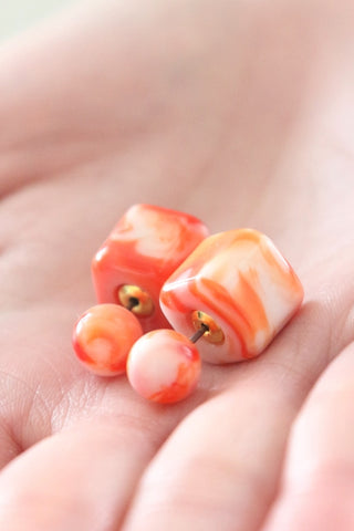 Double Candy Earrings - Psychedelic Orange