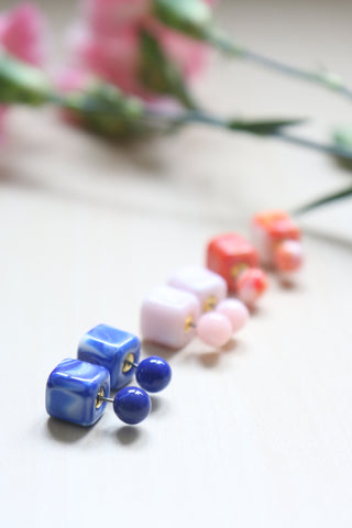 Double Candy Earrings - Psychedelic Blue