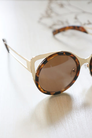 Cut-Out Metal Cat Eye Sunglasses - Leopard