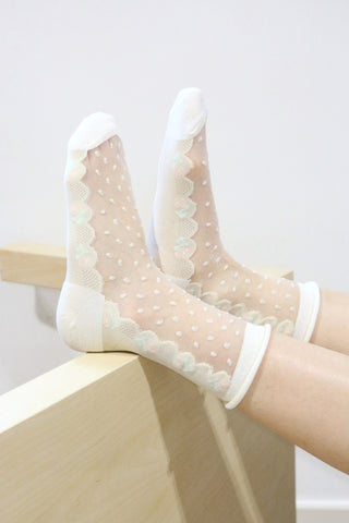 Floral Sheer Panel Socks - Beige
