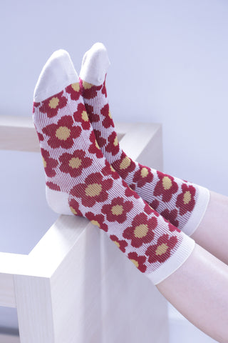 Floral Socks - Red