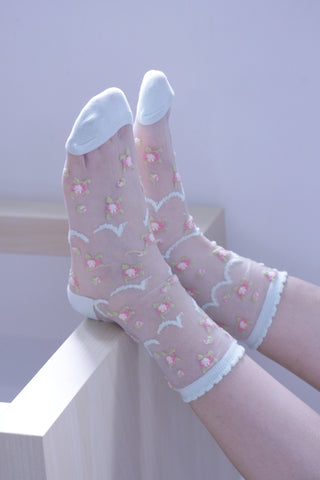 Floral Sheer Socks - Blue