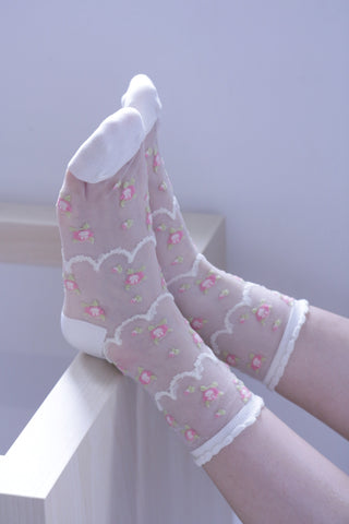 Floral Sheer Socks - White