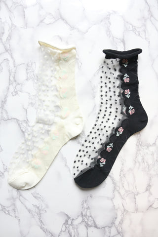 Floral Sheer Panel Socks - Black
