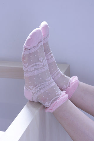 Lace Sheer Socks - Pink